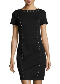 MICHAEL Michael Kors Studded Short-Sleeve Sheath Dress