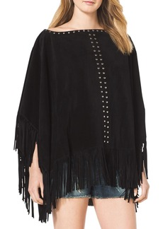 MICHAEL Michael Kors Studded Suede Fringe-Trim Poncho