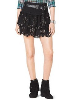 MICHAEL Michael Kors Studded Tiered Eyelet Skirt