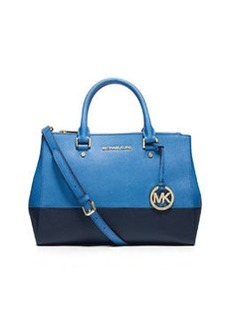 MICHAEL Michael Kors Sutton Medium Bicolor Satchel Bag, Heritage Blue/Navy