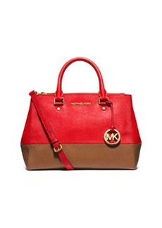 MICHAEL Michael Kors Sutton Medium Bicolor Satchel Bag, Mandarin/Luggage