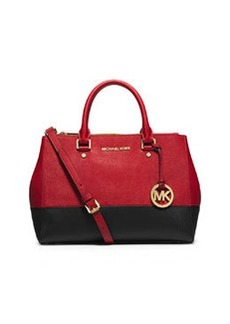 MICHAEL Michael Kors Sutton Medium Satchel Bag, Dark Red/Black