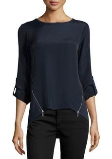MICHAEL Michael Kors Tab-Sleeve Top W/Zip Vents