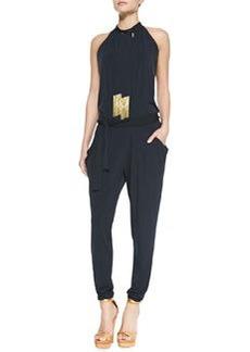 MICHAEL Michael Kors Tie-Neck Tassel Jersey Jumpsuit