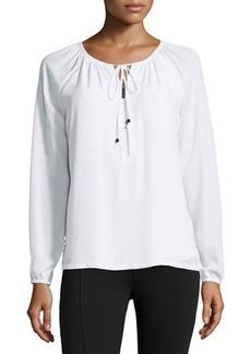 MICHAEL Michael Kors Tie-Neck Zip Peasant Tunic