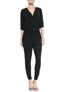 MICHAEL Michael Kors Tie-Waist Studded Jersey Jumpsuit