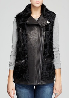 MICHAEL Michael Kors Vest - Leather Lamb Fur