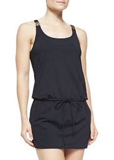 MICHAEL Michael Kors Watchband-Strap Drawstring Jersey Coverup, Black