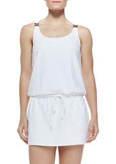 MICHAEL Michael Kors Watchband-Strap Drawstring Jersey Coverup, White