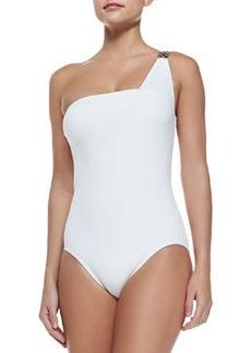 MICHAEL Michael Kors Watchband-Strap One-Shoulder Swimsuit