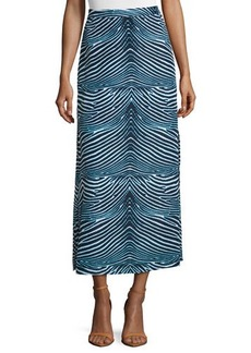 MICHAEL Michael Kors Wave-Print Side-Slit Maxi Skirt