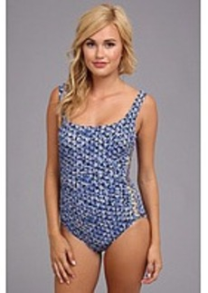 MICHAEL Michael Kors Wax Print Studs U-Neck Shirred Maillot