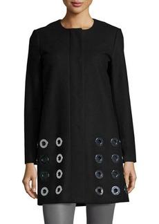MICHAEL Michael Kors Wool-Blend Topper W/ Grommet Detail  Wool-Blend Topper W/ Grommet Detail