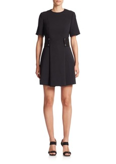 MICHAEL MICHAEL KORS Woven Leather-Accent Snap-Waist Dress