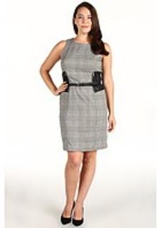 MICHAEL Michael Kors YD Glen Plaid Sleeveless Faux Leather Woven Dress