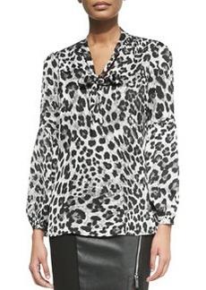 MICHAEL Michael Kors Yesler Leopard-Print Blouse with Tie