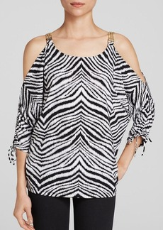 MICHAEL Michael Kors Zebra Cold Shoulder Top