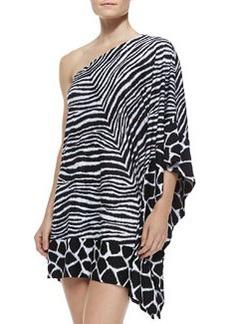 MICHAEL Michael Kors Zebra-Print One-Shoulder Coverup