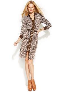 MICHAEL Michael Kors Petite Zebra-Print Studded Shirtdress