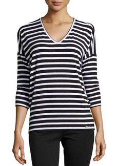 MICHAEL Michael Kors Zip-Back V-Neck Striped Top