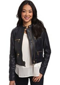MICHAEL Michael Kors Zip Detailed Leather Jacket