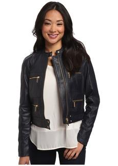 MICHAEL Michael Kors Zip Detailed Leather Jacket