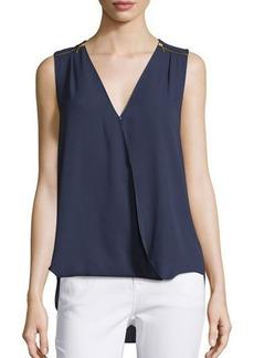 MICHAEL Michael Kors Zip-Shoulder Draped Sleeveless Top
