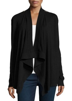 MICHAEL Michael Kors Zip-Shoulder Open-Front Cardigan