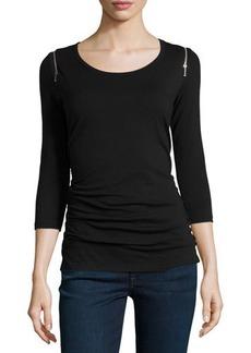 MICHAEL Michael Kors Zip-Shoulder Scoop-Neck 3/4-Sleeve Tee