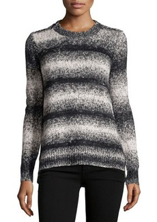 MICHAEL Michael Kors Zip-Shoulder Striped Knit Sweater