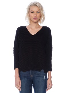 Michael Stars 3/4 Sleeve Hi-Low Rib Sweater