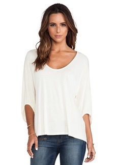 Michael Stars 3/4 Sleeve Swingy Cropped Top