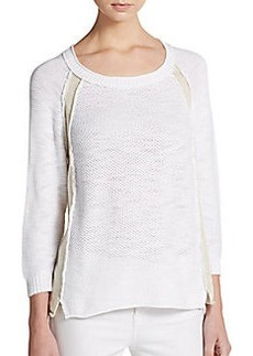 Michael Stars Contrast Paneled Waffle-Stitched Sweater
