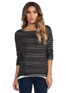Michael Stars Double Layer Stripe Reversible Long Sleeve Boatneck Hi-Low Sweater in Black