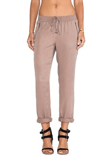 Michael Stars Drawstring Pull-on Pant with Zippers in Brown