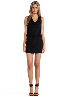 Michael Stars Katie Sleeveless Drape Neck Dress in Black