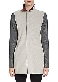 Michael Stars Leather Sleeve Car Coat