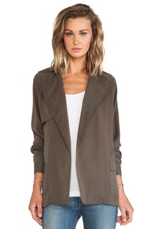 Michael Stars Long Sleeve Belted Trench in Olive