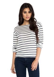 Michael Stars Long Sleeve Boat Neck Tee in Navy
