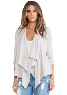 Michael Stars Long Sleeve Cascade Front Cardigan in Gray
