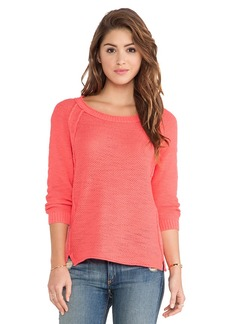 Michael Stars Long Sleeve Crew Sweater in Red