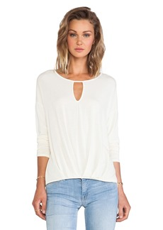 Michael Stars Long Sleeve Keyhole with Pleated Hem