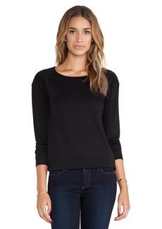 Michael Stars Long Sleeve Sweatshirt with Suede in Black