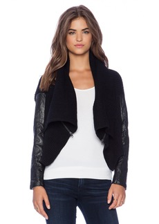 Michael Stars Open Front Rib Cardigan with Zippers
