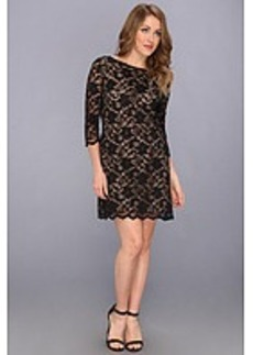 Michael Stars Scallop Lace 3/4 Sleeves Boatneck Dress