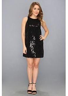 Michael Stars Sequin Silk Chiffon Sleevesless Crew Neck Dress