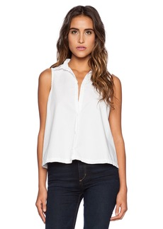 Michael Stars Sleeveless Button Up Crop Shirt