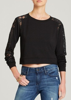 Michael Stars Sweatshirt - Cropped Lace Panel