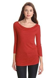 Michael Stars Women's 1x1 Slub 3/4 Sleeve Drape Neck Tee Shirt