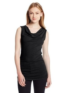 Michael Stars Women's 1X1 Slub Short Sleeve Drape Neck Tee with Shirring